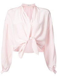 Tome Cropped Tie Waist Blouse Pink And Purple