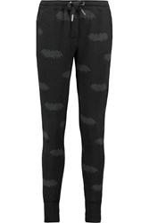 Zoe Karssen Printed Cotton Blend Jersey Track Pants Black