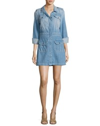 7 For All Mankind Button Front Denim Shirtdress Indigo