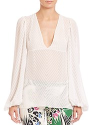 Just Cavalli Chevron Sheer Hi Lo Blouse Off White