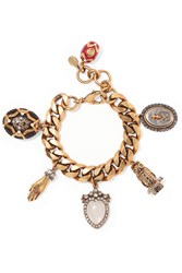Alexander Mcqueen Gold Plated Crystal And Faux Pearl Charm Bracelet