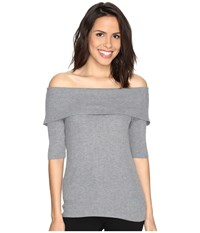 Brigitte Bailey Ria Ribbed Off The Shoulder Sweater Grey Women's Sweater Gray
