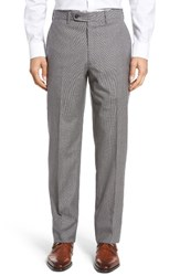 Jb Britches Men's Flat Front Check Wool Trousers Light Grey