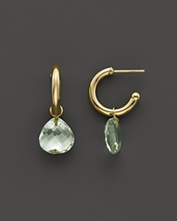 Bloomingdale's Green Amethyst Medium Hoop Earrings In 14K Yellow Gold