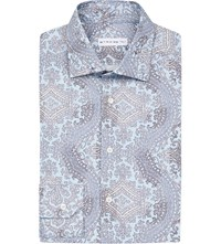 Etro Paisley Print Slim Fit Cotton Shirt Blue