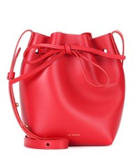 Mansur Gavriel Mini Mini Leather Bucket Bag Red