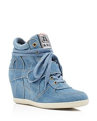 Ash Bowie Lace Up High Top Wedge Sneakers Blue