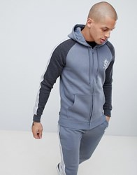 Gym King Muscle Hooded Sweat With Side Stripes In Grey