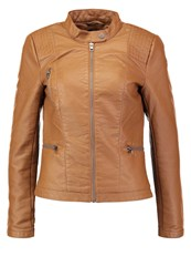Only Onlwilma Faux Leather Jacket Cognac Brown