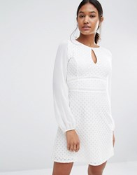 Lipsy Long Sleeve Keyhole Mesh Dress White