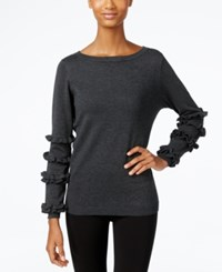 Ny Collection Ruffled Sleeve Sweater Charcoal Grey