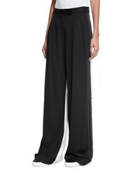 Dkny Pleated Front Wide Leg Combo Pants Black