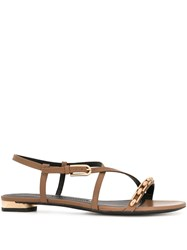 Stella Luna Chain Strap Sandals Brown