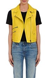Mira Mikati Women's Leather Sleeveless Moto Jacket Yellow