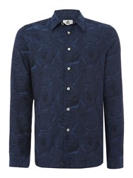 Paul Smith Tailored Fit Rose Print Long Sleeve Shirt Navy