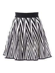 Jane Norman Knitted Chevron Skirt Black White
