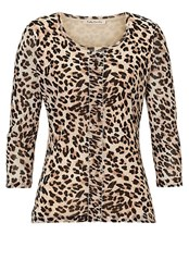 Betty Barclay Animal Print Layered Top Cream