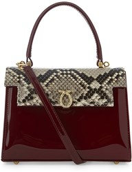 Launer Judi Python Skin Leather Tote Wild Cherry Patent