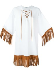 Au Jour Le Jour Fringed Edge Dress White