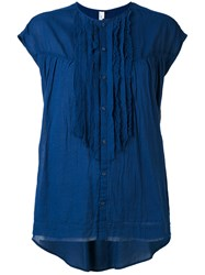 Pas De Calais Ruffled Front Blouse Women Cotton 40 Blue