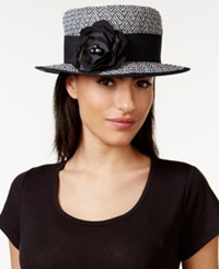 Nine West Black And White Boater Hat