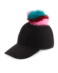 Charlotte Simone Sass Single Pom Wool Felt Baseball Cap Multicolor Multi Colors