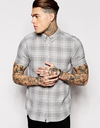 Asos Check Shirt In Short Sleeve With Linen Mix Grey