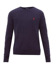 Polo Ralph Lauren Cable Knit Wool And Cashmere Sweater Blue