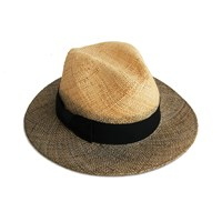 Justine Hats Fedora Straw Hat W Gray Brims