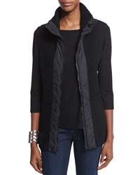 Eileen Fisher Stand Collar Ribbed Parka Vest