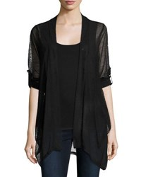 Neiman Marcus Lightweight Relaxed Cardigan Black