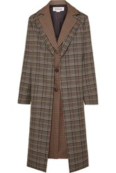 Monse Layered Checked Wool Blend Coat Brown