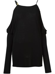 Anthony Vaccarello Cold Shoulder Top Black