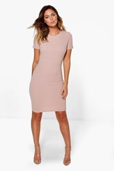 Boohoo Holly Fitted Tailored Dress Nude