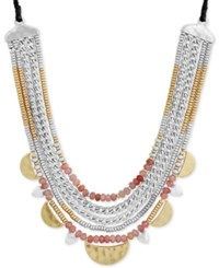 Lucky Brand Two Tone And Red Stone Beaded Leather Statement Necklace Ttone