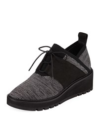 Eileen Fisher Wilson Lace Up Knit Wedge Walking Shoes Black Gray