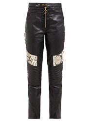 Marques'almeida Panelled Leather Biker Trousers Multi