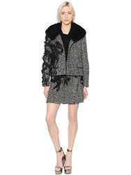 Ermanno Scervino Embroidered Wool Boucle Jacket W Fur