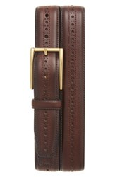 Cole Haan Men's Perforated Leather Belt Dark Brown