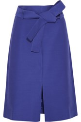 J.Crew Collection Wool And Silk Blend Faille Skirt Royal Blue
