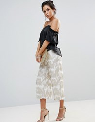 Little Mistress Sequin Embellished Midi Trousers Silver