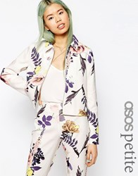 Asos Petite Textured Large Floral Blazer Co Ord Multi