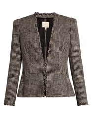 Rebecca Taylor Collarless Tweed Jacket Black White