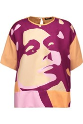 Raoul Printed Silk Satin Twill Top Violet