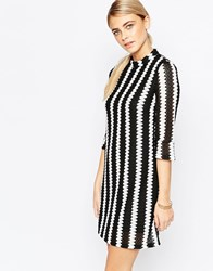 Fashion Union 60'S Shift Dress With Fluted Sleeve Multi