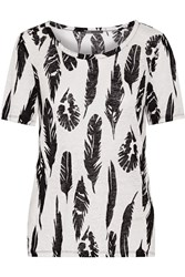 Vince Plume Printed Linen T Shirt White