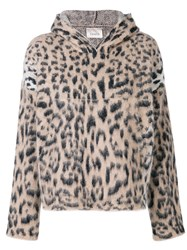 Laneus Leopard Print Hoodie Nude And Neutrals