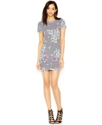 French Connection Striped Floral Print Tee Dress