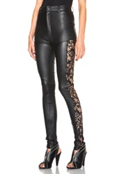 Rodarte Leather Pants With Lace Details In Black