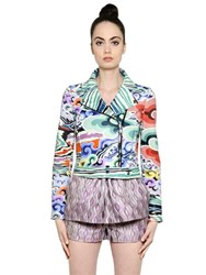 Mary Katrantzou Rainbow Cloud Printed Biker Jacket